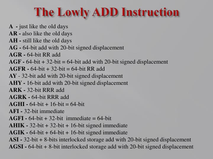 The Lowly ADD Instruction