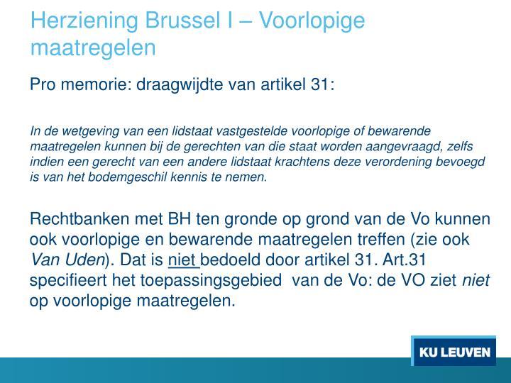 Herziening Brussel I – Voorlopige maatregelen