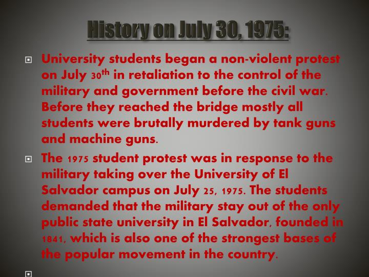 History on july 30 1975