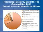 mississippi gateway exports top commodities 2011 vessel shipments totaled 5 6 billion