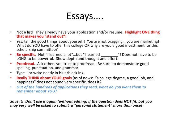 Essays....