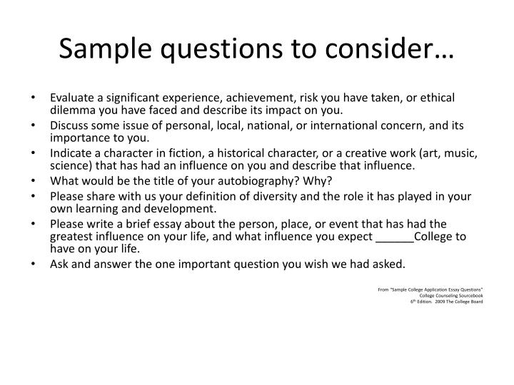 Sample questions to consider…
