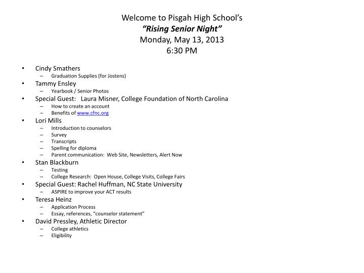 Welcome to pisgah high school s rising senior night monday may 13 2013 6 30 pm