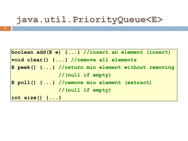 java.util.PriorityQueue<E>