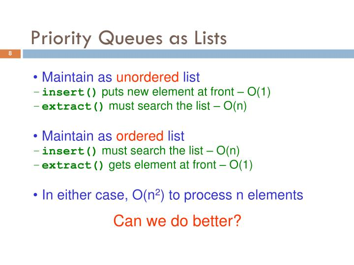 Priority Queues as Lists