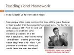 readings and homework