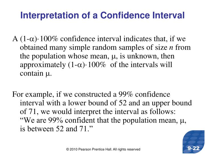 Interpretation of a Confidence Interval