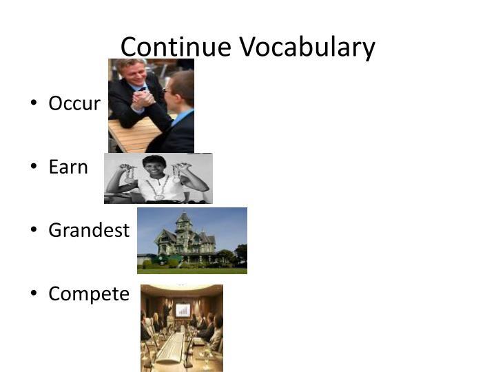 Continue Vocabulary