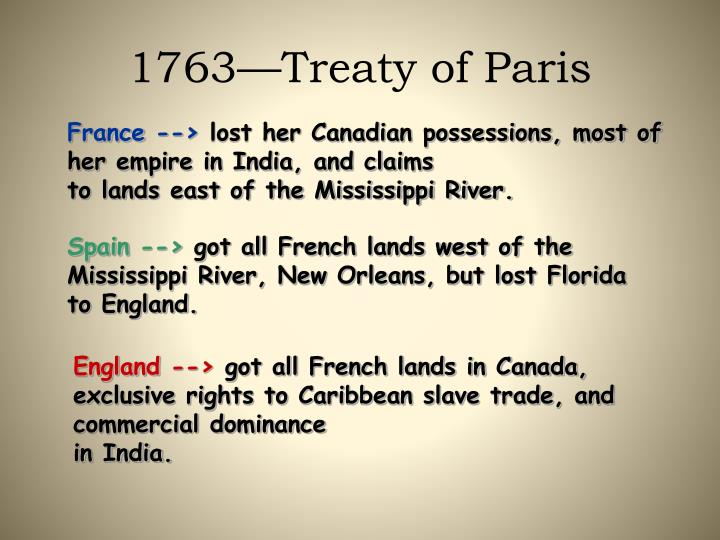 1763—Treaty of Paris