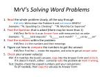 mrv s solving word problems
