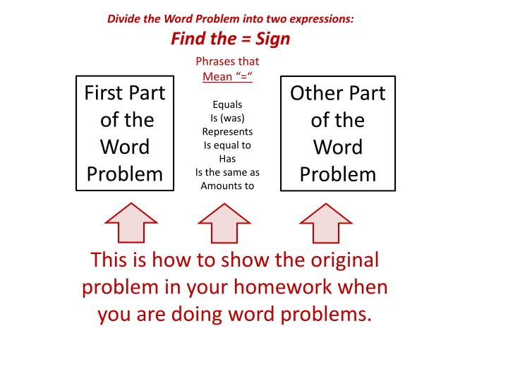 Divide the Word Problem into two expressions: