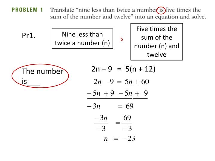 Five times the sum of the number (n) and twelve