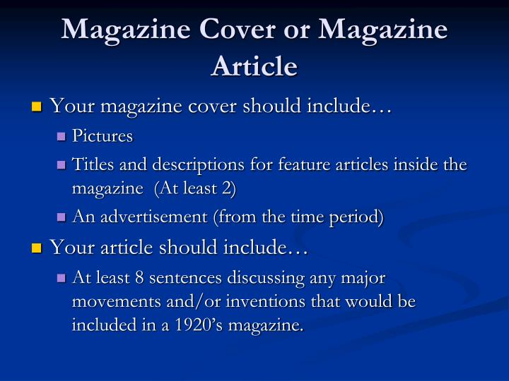 Magazine Cover or Magazine Article