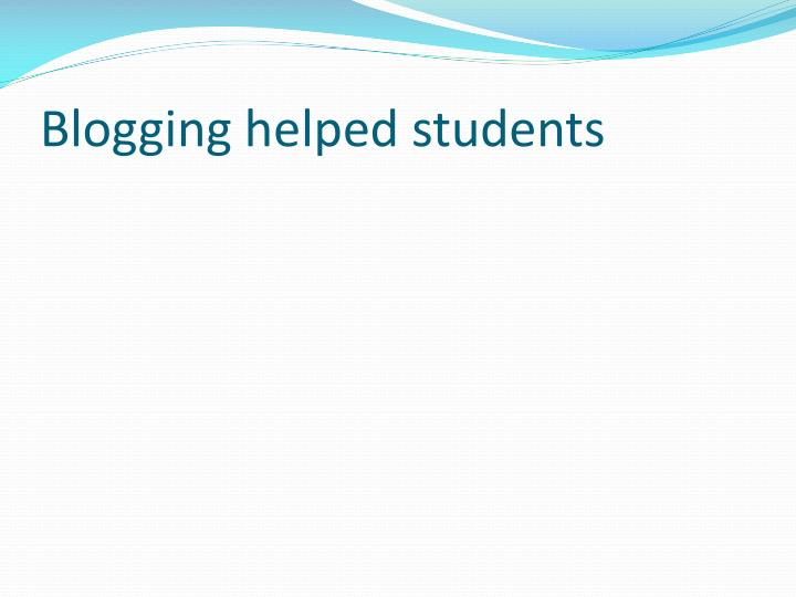 Blogging helped students