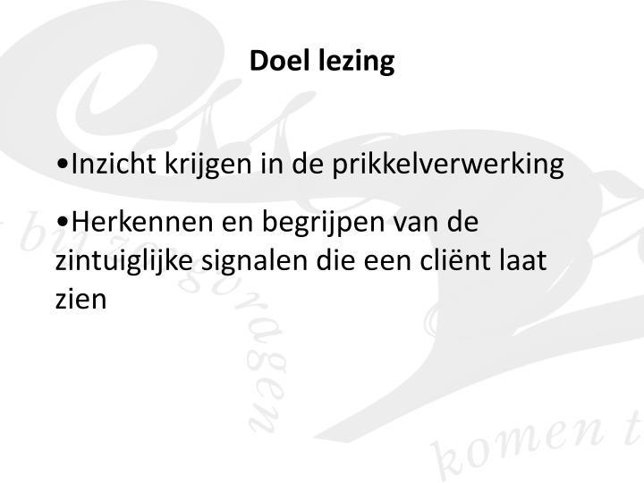 Doel lezing