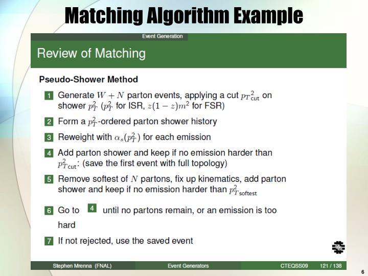 Matching Algorithm Example