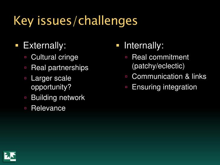 Key issues/challenges