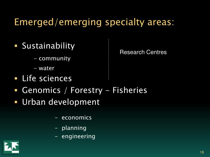 Emerged/emerging specialty areas: