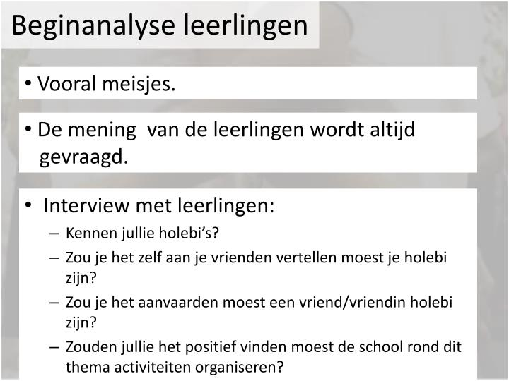 Beginanalyse leerlingen