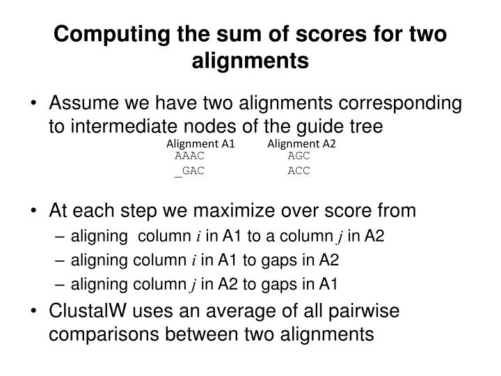 Computing the sum of scores for two alignments
