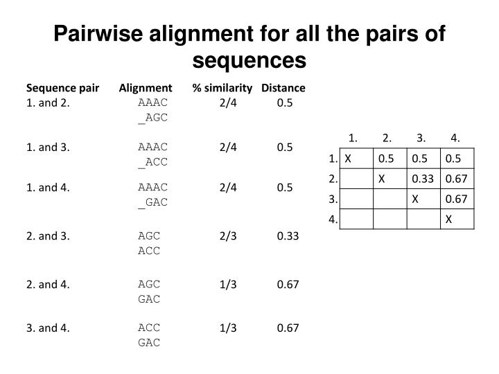 Pairwise alignment for all the pairs of sequences