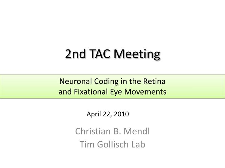 2nd TAC Meeting