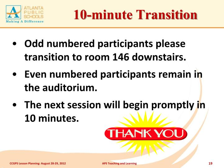10-minute Transition