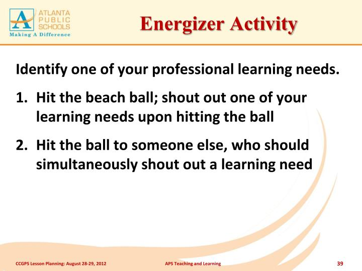 Energizer Activity