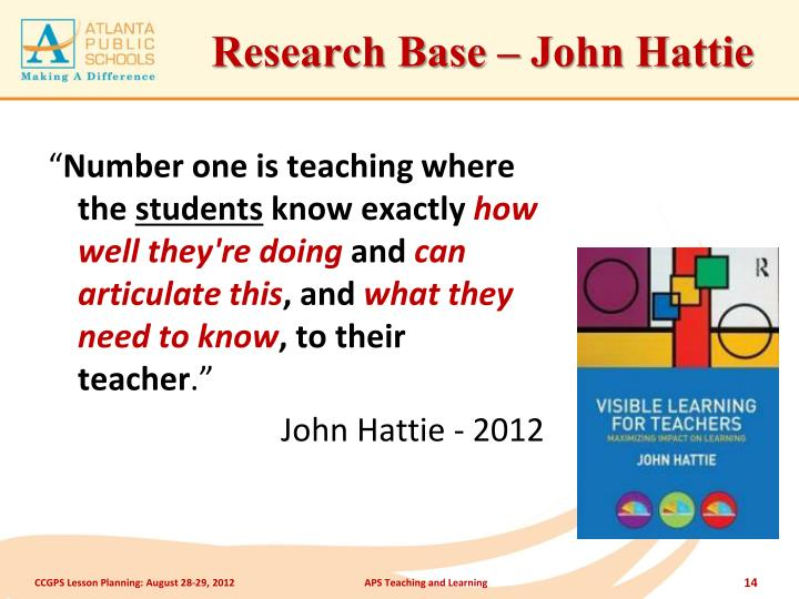 Research Base – John Hattie