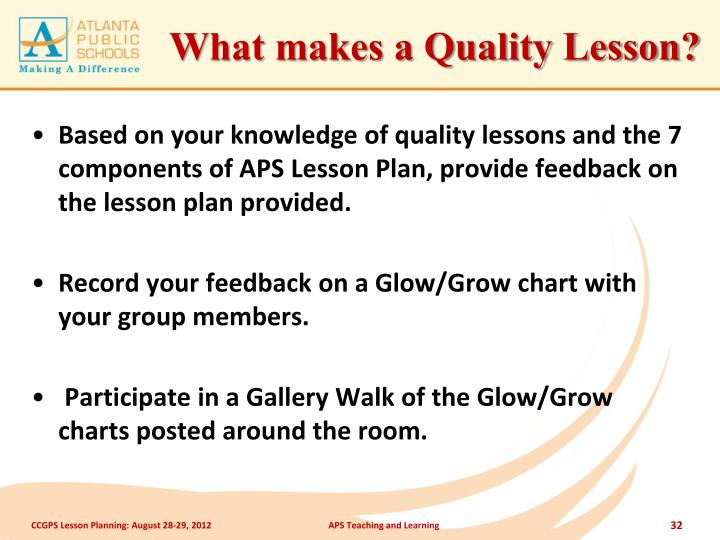 What makes a Quality Lesson?