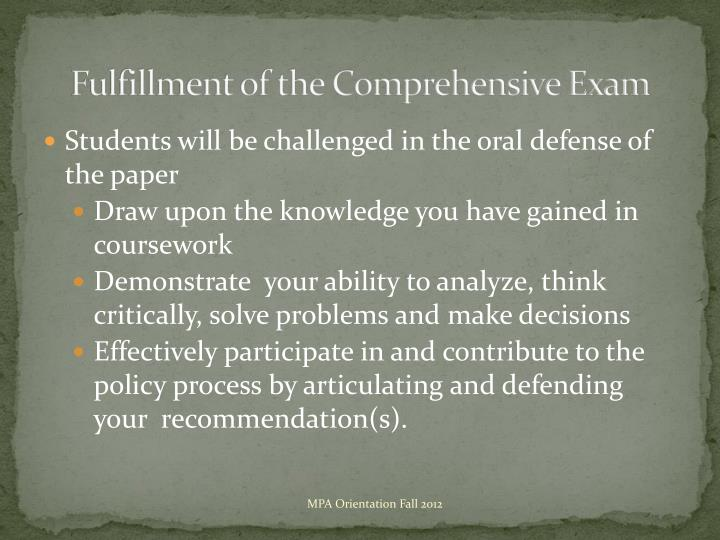Fulfillment of the Comprehensive Exam