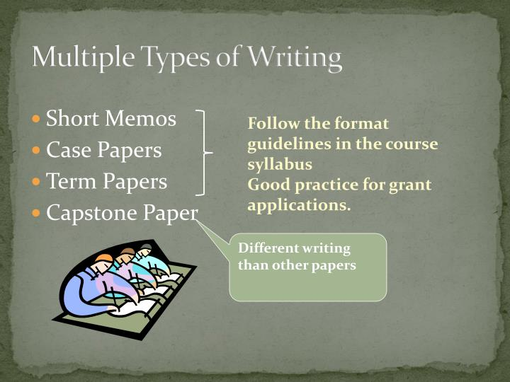 Multiple Types of Writing