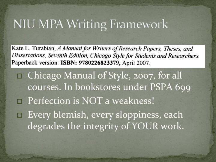 NIU MPA Writing Framework