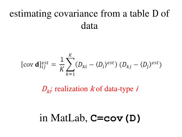 estimating covariance from a table