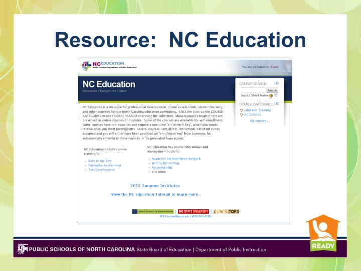 Resource:  NC Education