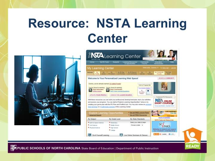 Resource:  NSTA Learning Center