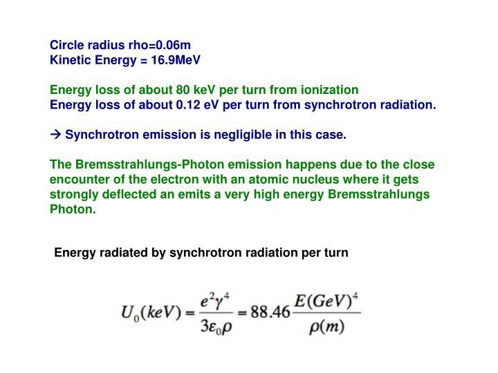 Circle radius rho=0.06m