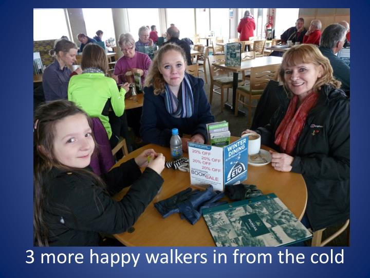 3 more happy walkers in from the cold