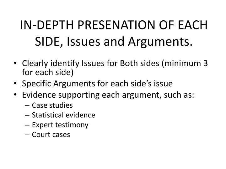 IN-DEPTH PRESENATION OF EACH SIDE, Issues and Arguments.