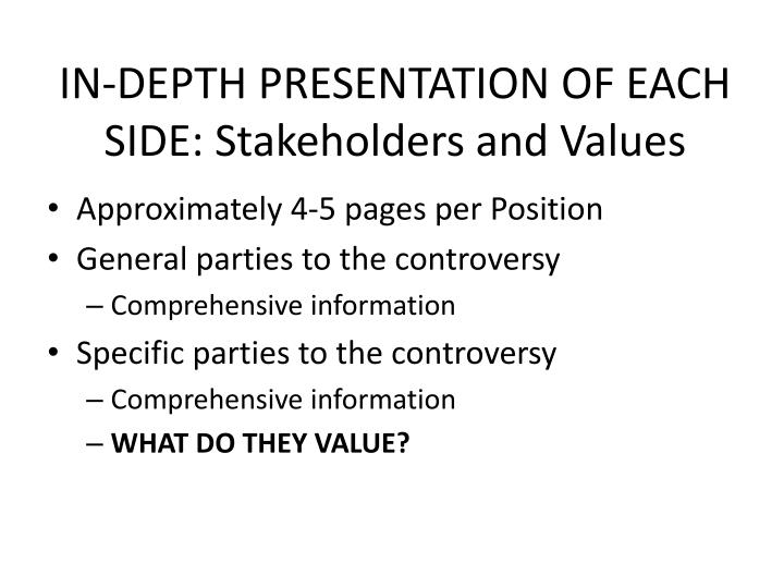 IN-DEPTH PRESENTATION OF EACH SIDE: Stakeholders and Values