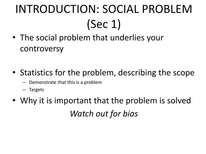 INTRODUCTION: SOCIAL PROBLEM (Sec 1)