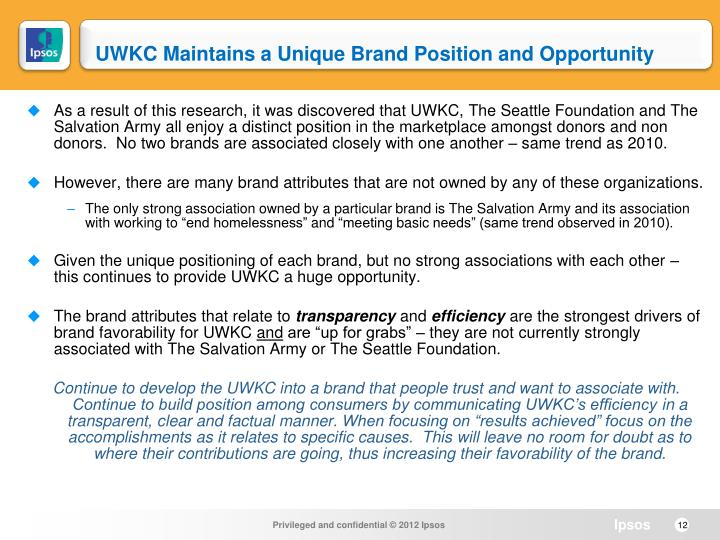 UWKC Maintains a Unique Brand Position and Opportunity