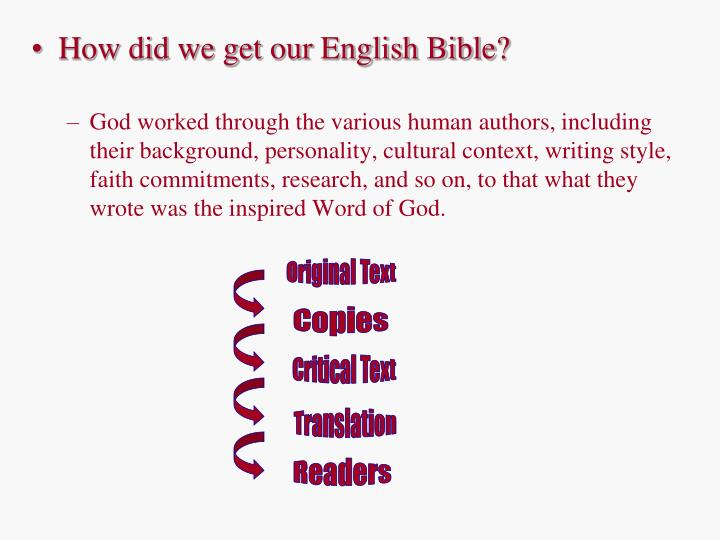 How did we get our English Bible?