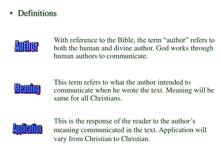 """With reference to the Bible, the term """"author"""" refers to both the human and divine author. God works through human authors to communicate."""