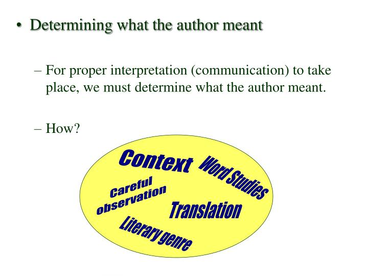 Determining what the author meant