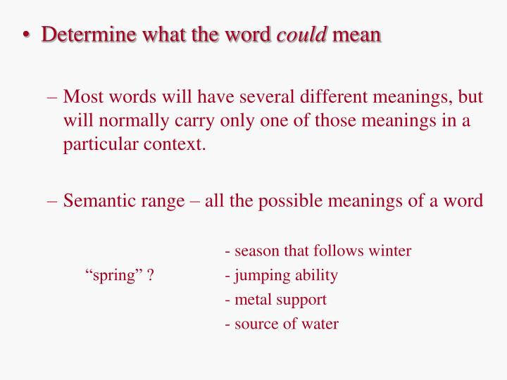Determine what the word