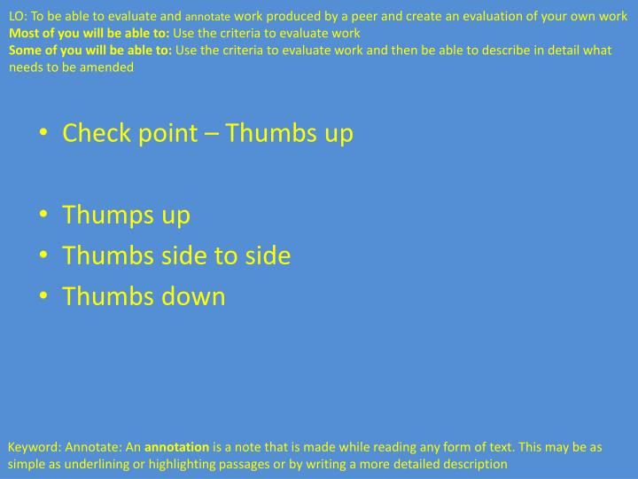 Check point – Thumbs up