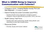 what is unmh doing to improve communication with patients