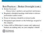 best practices broker oversight cont