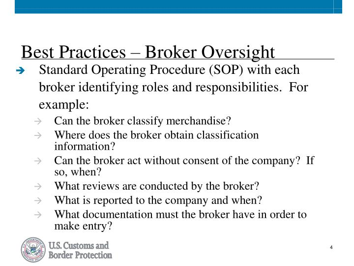 Best Practices – Broker Oversight